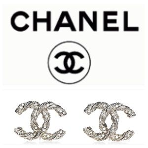 Authentic Chanel silver crystal earrings